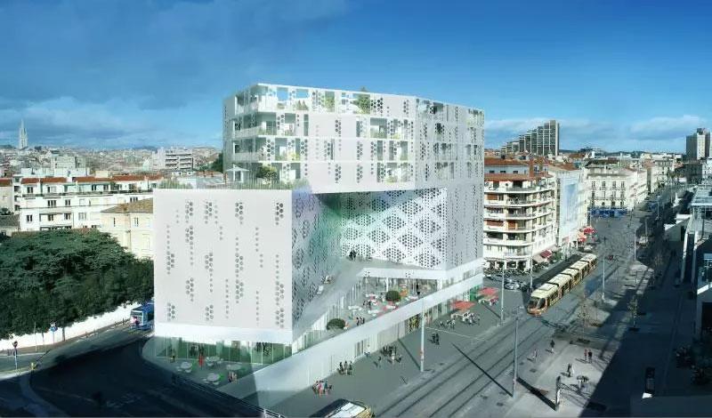Le nouveau bâtiment dans le quartier de la gare à Montpellier 1