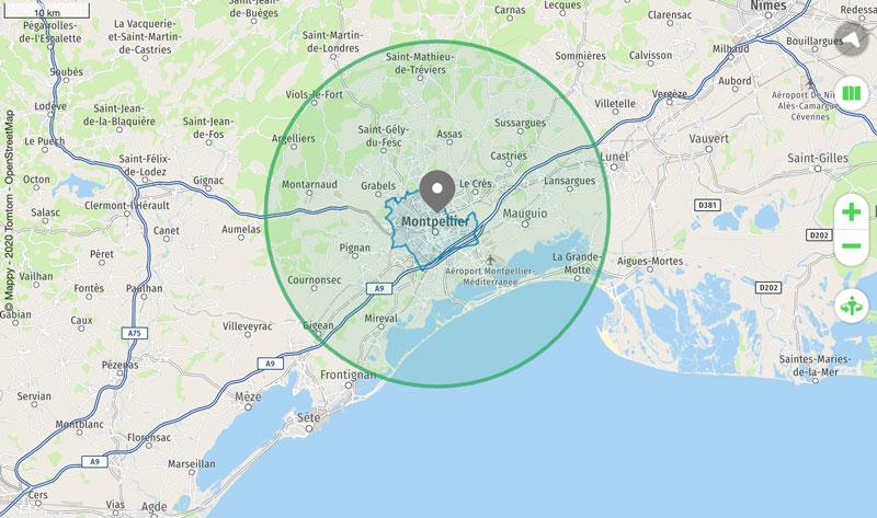 20 km autour de montpellier : calculez la zone pour circuler pendant le confinement 4 - MontpelYeah Magazine